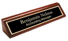 2 X 8 Rosewood Piano Finish Desk Name Plate - Black Plate, Gold Engraving - Free Engraving, 2015 Amazon Top Rated Desk Tapes & Nameplates #OfficeProduct