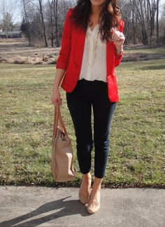 Cropped / Ankle-length pants/slacks/jeans, nude pumps, loose white button-down top, and red blazer