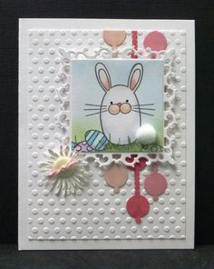 SC477  Bunny Eggs by hobbydujour - Cards and Paper Crafts at Splitcoaststampers - love the take on the vertical element - image is so cute! - smaller, less pronounced circle element doesn't look as out-of-place