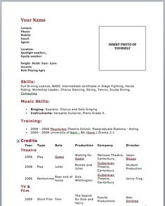 Acting Resume Template Word Microsoft  HttpWwwResumecareer