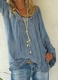 2bb3f5e9bfc Soft   comfortable long sleeve cotton Boho shirt in this Summer s color  light  blue chambray.