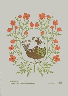 What a sweetly lovely little folk art inspired quail illustration.