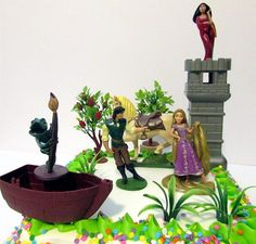 Tangled Birthday Cake Topper Set Featuring Pascal, Rapunzel, Mother Gothel, Flynn Rider, Maximus and Other Themed Decorative Accessories -- Special product just for you. : baking decorations