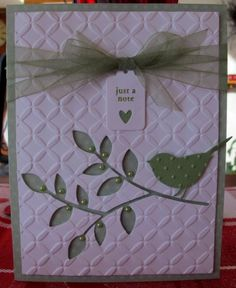 Memory Box · Heart Prints - MB Perched Reed Bird and Lorelai Leaf Making Greeting Cards, Greeting Cards Handmade, Memory Box Cards, Embossed Cards, Embossed Paper, Bird Cards, Cool Cards, Cards Diy, Sympathy Cards