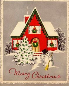 Christmas house vintage card