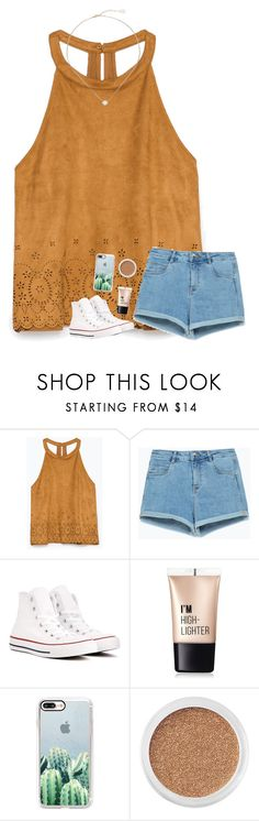 """""""so nice out today😍🌷"""" by beingrach ❤ liked on Polyvore featuring Zara, Converse, Charlotte Russe, Casetify, Bare Escentuals and Kendra Scott"""