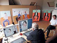 David Hockney in studio drawing at his computer (2008)