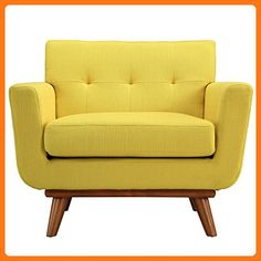 Modway Engage Mid-Century Modern Upholstered Fabric Armchair In Sunny (*Partner Link)