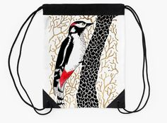 """Woodpecker, forest bird, watercolor & ink sketch"" Drawstring Bags by ptitsa-tsatsa 