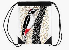 """Woodpecker, forest bird, watercolor & ink sketch"" Drawstring Bags by ptitsa-tsatsa | Redbubble"