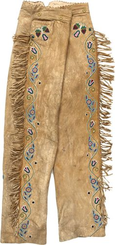 Pair of Plains beaded Hide Trousers, c.1890.