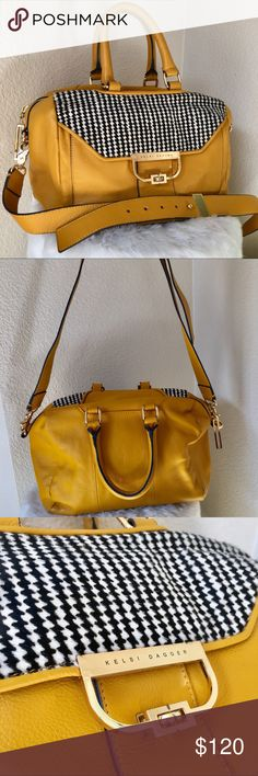 Kelsi Dagger Brooklyn Georgina Satchel Purse Bag Stylish and gorgeous bag! Excellent condition, mustard Yellow Leather, Houndstooth Calf Hair, gold heavy hardware, Satchel or Crossbody style, front pocket with turn lock closure, 2 handles and long strap is detachable adjustable buckle style, interior black stripe lining, 2 media pockets and 1 zipper pocket. Rare find! Kelsi Dagger Bags Satchels