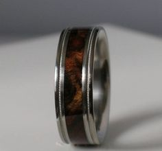 Tungsten Wedding Band Brown Maple Burl Wood Ring by usajewelry Tungsten Wedding Bands, Wedding Rings, His And Hers Rings, Titanium Jewelry, Family Jewels, Wood Rings, One Ring, Casual Wedding, Swagg