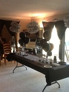 Black And White Party Birthday Tables 21st 75th 30th