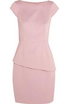Halston Heritage Asymmetric satin-twill peplum dress   THE OUTNET