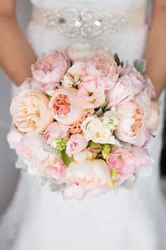Wedding Bouquets & Centerpieces A blush bridal bouquet with peonies and white ranunculus flowers.A blush bridal bouquet with peonies and white ranunculus flowers. Peony Bouquet Wedding, Bridal Bouquet Pink, Blush Bridal, Bride Bouquets, Bridal Flowers, Purple Bouquets, Flower Bouquets, Pale Pink Bouquet, Blush Pink