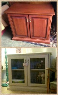 The before and after of Biscuits new indoor rabbit hutch/ home!