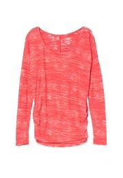 calypso coral cinched side long sleeve striped burnout tee - maurices.com