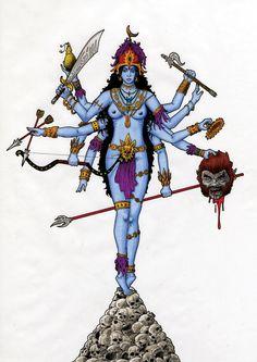 Hindu Godess Kali/Durga, holding the head of demon Mahishasura in one of her ten arms. Drawn with Pens, markers and coloured pencils. Kali by ~turboweevel Kali Goddess, Mother Goddess, Hindu Deities, Hinduism, Kali Tattoo, Tattoo Ink, Durga Ji, Kali Mata, Indian Illustration