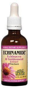 Natural Factors Echinamide Echinacea/Goldenseal Extract, 1.70-Ounce by Natural Factors. Save 56 Off!. $10.77. Supports immune health. Features Echinamide. Natural Factors Echinamide Goldenseal Extract. Only Natural Factors ECHINAMIDE® extract has been proven to consistently enhance immune system function. The combination of Echinacea purpurea flowers and roots and Golden seal root (Hydrastis canadensis) in 3:1 ratio. This product can be used for severe illness. Echinacea and G...