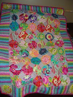Snowball Quilt with Kaffe Fassett fabrics