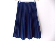 Pleated Skirt Size Medium Blue Full Vintage 80s Knee Length Rockabilly Accordion #SarahK #FullSkirt