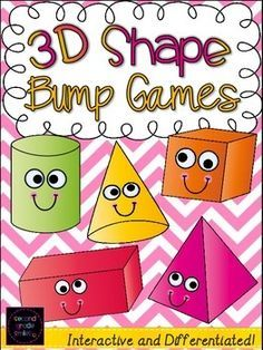 3D Shape Bump Games- includes two unique and differentiated bump games designed to help your students practice recognizing three-dimensional shapes and their defining attributes with specific vocabulary. #shapes #3-D $