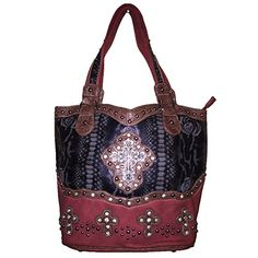 Rhinestone Cross Flower Hobo Style Leather Shoulder Handbag Purse And Matching Wallet In Red 5260