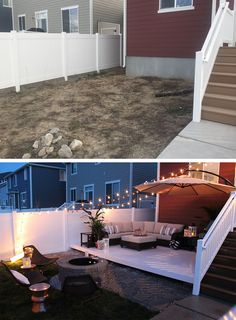 Backyard landscaping before and after _ hinterhof landschaftsbau vor und nach _ aménagement paysager avant et après _ paisajismo de patio trasero antes y después _ backyard landsca de patio trasero en un presupuesto Small Backyard Design, Backyard Patio Designs, Small Backyard Landscaping, Backyard Projects, Home Projects, Landscaping Ideas, Diy Patio, Backyard Furniture, Large Backyard