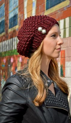 Women's Hand Knit Slouchy Hat Two Antique Pearl Buttons MANY COLORS- Knit Slouchy Beret, Winter Fashion Accessories, Knitted Slouch Beanie