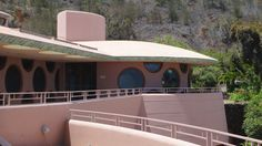 King Kamehameha Golf Course Clubhouse. 1993. Waikapu, Maui, Hawaii. Taliesin Associated Architects. Based on the unbuilt Arthur Miller & Marylyn Monroe House design by Frank Lloyd Wright in 1957.
