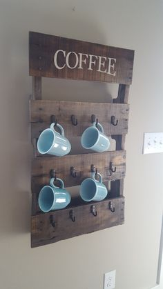 Gorgeous Coffee Cup Holder with built in bottom shelf from a pallet #palletwood #pallets