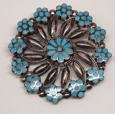 Old Pawn Zuni Turquoise Inlay Flowers Sterling Silver Pin & Pendant - VM Dishta