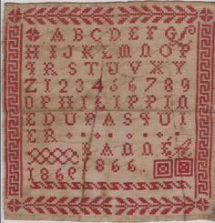 ANCIEN ABECEDAIRE brodé Au POINT DE CROIX daté de 1866 / FIL ROUGE - 21.5CMX21.5