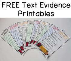 FREE Text Evidence Prompts for Writing and Speaking These are perfect to tape to student desks on inside reading notebooks.