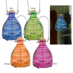 Bring peace of mind to your outdoor gatherings with our beautiful and reusable wasp trap. Bait with sweetened fruit juice not included, and wasps and yellowjackets fly in -- while helpful bees remain uninterested!