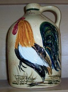 Etched handpainted rooster jug !!