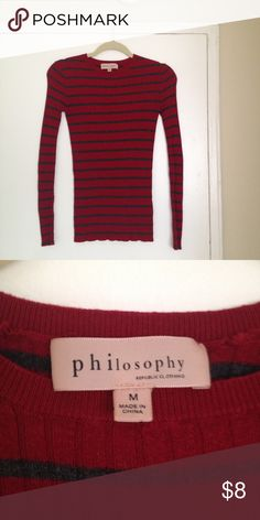 Philosophy long sleeve red & gray strip me shirt. Philosophy long sleeve red & gray strip me shirt. The tag says medium but this fits XS. Philosophy Tops Blouses