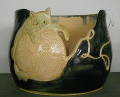 Cat Yarn Bowl in Hunter Green & Peach by yecartpottery on Etsy, $45.00