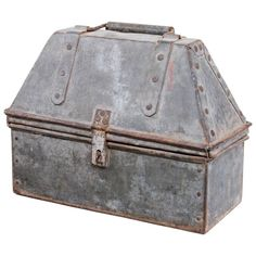 1940s American Industrial Tool Box  American  circa 1940  An early American industrial hand crafted tool box made out of sheet metal and galvanized cold riveted and a wire edge