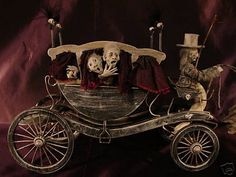 The Haunted Carriage was designed by artist Pat Benedict, or Woopitydooart. For Pat, Halloween comes all year round. If your dollhouse is ha. Halloween Diorama, Halloween Shadow Box, Halloween Miniatures, Halloween Village, Halloween Doll, Fantasy Miniatures, Halloween House, Halloween Crafts, Fall Halloween