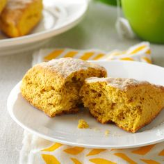 Pumpkin Ginger Scones Recipe -I made these lovely scones one day when looking for a way to use up leftover pumpkin, and I was so excited with the results. I often use my food processor to stir up the dough just until it comes together. It's so simple to prepare this way. —Brenda Jackson, Garden City, Kansas