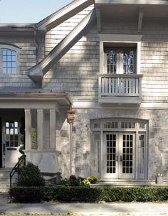 Exterior colors & materials, natural whited washed shingle siding, light stone siding, corbels, copper rain gutters