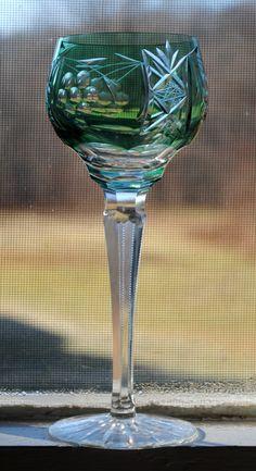 Emerald Hock Wine Glass, Probably Nachtmann.