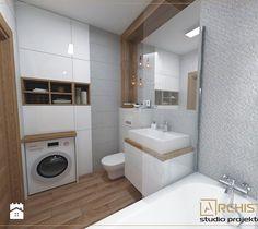 washer in bathroom Laundry Room Design, Modern Bathroom Design, Bathroom Interior Design, Narrow Bathroom, Laundry In Bathroom, Bad Inspiration, Bathroom Inspiration, Bathroom Plans, Bathroom Furniture