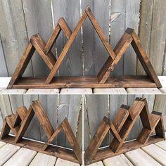 Triple Mountain Shelf Triangle Shelf Rustic Wooden Home #creativewoodworking