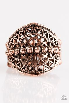 Travel Treasure - Copper Ring - $5  Brushed in an antiqued shimmer, ornate copper beads are pressed down the center of a decoratively filigree-filled frame for a whimsical look. Features a stretchy band for a flexible fit.  Sold as one individual ring.