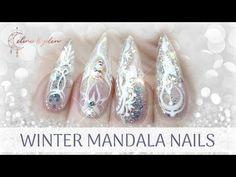 TUTORIAL | WINTER MANDALA NAILS | GEL EXTENSION | WEDDING, FROZEN, ICE - YouTube