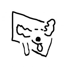 Minimalist dog with head out of car window (CD9293)