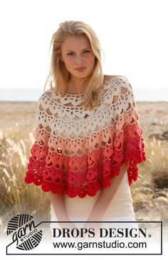 "Crochet DROPS poncho in ""Paris"". Here 's a really nice poncho! Beau Crochet, Poncho Au Crochet, Pull Crochet, Mode Crochet, Crochet Cape, Crochet Poncho Patterns, Crochet Shawls And Wraps, Crochet Jacket, Crochet Patterns For Beginners"